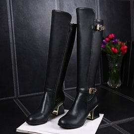 Buckles Chunky Heel Zippered Riding Boots