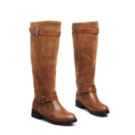 Suede Patchwork Buckle Riding Boots