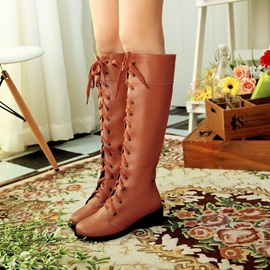 PU Square Heel Lace-Up Martin Boots