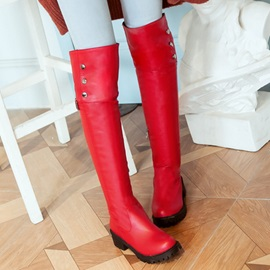 Studded PU Knee High Riding Boots