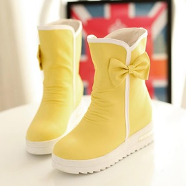 Round Toe Bowtie Decorated Elevator Heel Short Boots