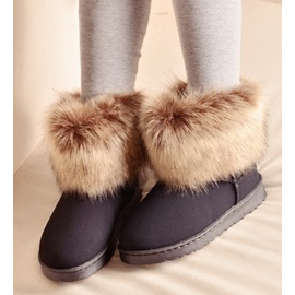 Fake Furry Rubber Sole Flat Heel Women's Snow Boots