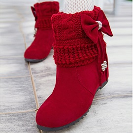 Bowtie Suede Round Toe Snow Boots