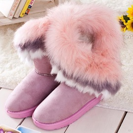 Eye-catching Warm Faux Furry Medium Snow Booties