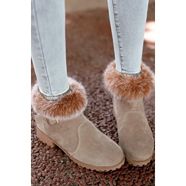 Fur Buckled Round Toe Ankle Boots