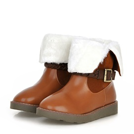 Suede Patchwork Buckle Deco Snow Boots