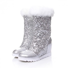 Sequins Elevator Heel Wedge Boots