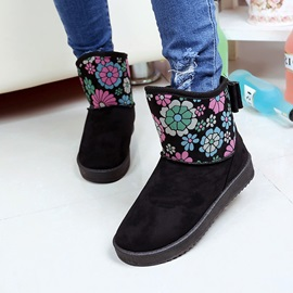 Floral Printed Suede Round Toe Snow Boots