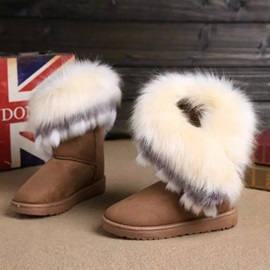 Charming Faux Fur Slip-On Snow Boots