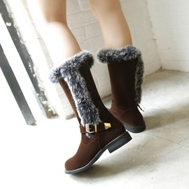 Faux Fur Buckles Slip-On Snow Boots