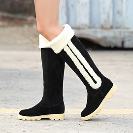 Suede Fold Over Knee High Snow Boots