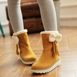 Bowknots Suede Slip-On Snow Boots