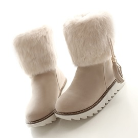 Faux Fur Tassels Slip-On Snow Boots