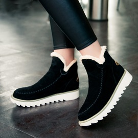 Suede Thread Slip-On Booties