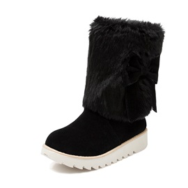 Faux Fur Bowknot Slip-On Snow Boots