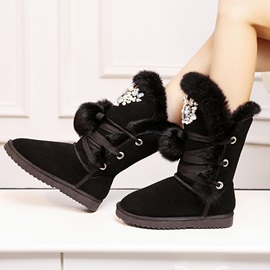 Rhinestone Lace-Up Front Snow Boots