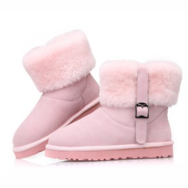 Faux Fur Buckle Slip-On Snow Boots