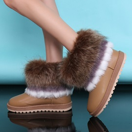 Faux Fur PU Slip-On Snow Boots