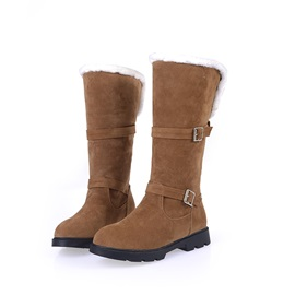 Buckles Suede Slip-On Snow Boots