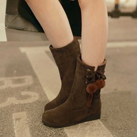 Pompom Suede Slip-On Snow Boots