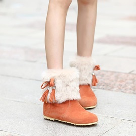 Bowtie Faux Fur Slip-On Suede Booties