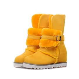 Buckles Round Toe Suede Snow Boots