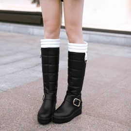 Color Block PU Slip-On Knee High Boots