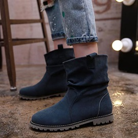 British Suede Round Toe Slip-On Booties