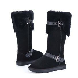 Suede Buckles Knee High Snow Boots