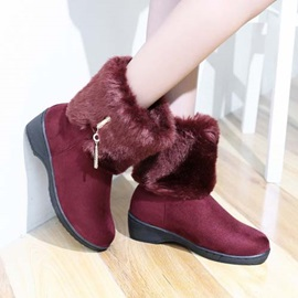 Faux Fur Round Toe Suede Snow Boots