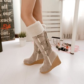 PU Lace-Up Back Wedge Heel Snow Boots