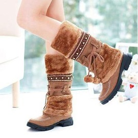 Beading Faux Fur Slip-On Snow Boots