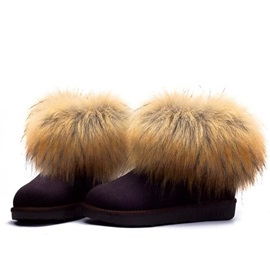 Faux Fur Slip-On Suede Winter Boots