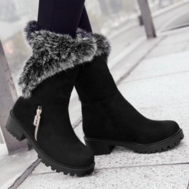 Faux Fur Round Toe Booties