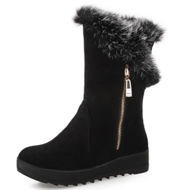 Suede Side Zipper Thread Round Toe Snow Boots