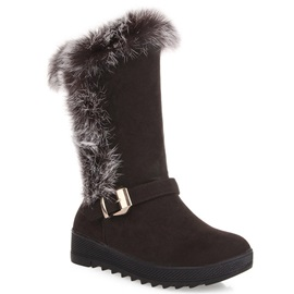 Faux Fur Round Toe Slip-On Booties