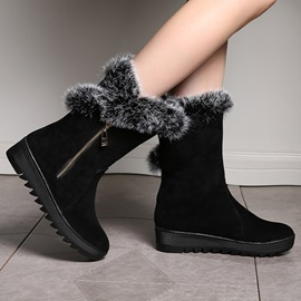 Faux Fur Suede Round Toe Booties
