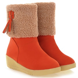 PU Round Toe Slip-On Short Snow Boots