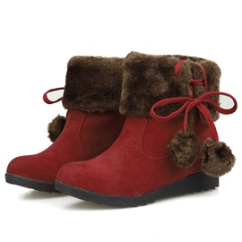 Suede Slip-On Lace-Up Wedge Hell Snow Boots