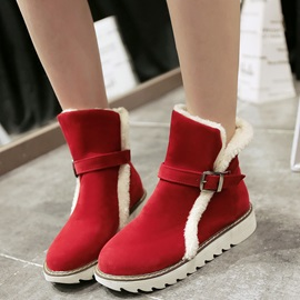 PU Slip-On Platform Thread Snow Fashion Boots