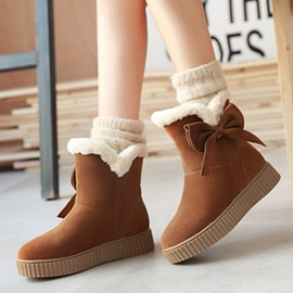 Cute Suede Slip-On Round Toe Snow Boots