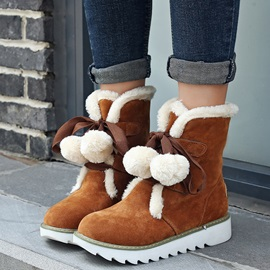 3D Purfle PU Lace-Up Front Fat Boots
