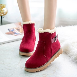Suede Cheap Side Zipper Thread Flat Women's Snow Boots