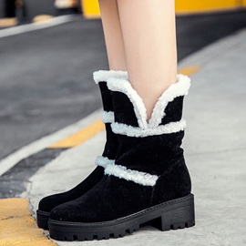 PU Slip-On Chunky Women's Ankle Boots