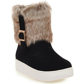 PU Slip-On Buckle Flat Women's Boots