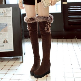 Faux Suede Patchwork Purfle Hasp Women's Boots