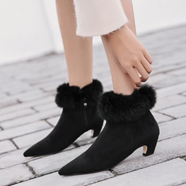 Faux Suede Purfle Pointed Toe Sexy Women's Black Boots