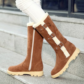 Faux Suede Buckle Side Zipper Women's Knee High Boots
