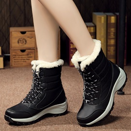 PU Lace Lace-Up Front Women's Snow Boots