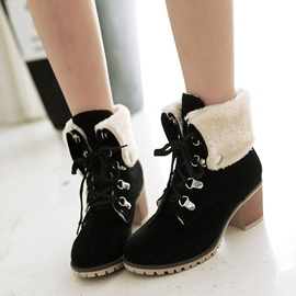 Plain Lace-Up Front Chunky Heel Women's Snow Boots